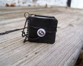 Miniature Book Necklace on Black Ball Chain - free ship