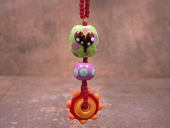 Lampwork Bead Happy Heart Stack Dangle Pendant Lime Green Purple Turquoise Red Tangerine Divine Spark Designs SRA