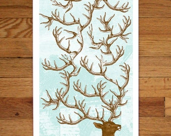Antlers- 12x36 - Hand-printed art print