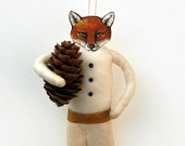 Fox Spun Cotton Holiday Ornament - Handmade Christmas Tree Ornament - Made to Order