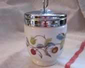 Vintage Royal Worcester Porcelain Egg Coddler with Wild Strawberry and Butterfly Print Made in England