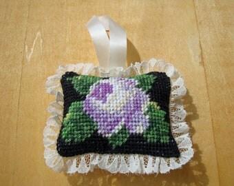 Light Purple Rose - Needlepoint Ornament