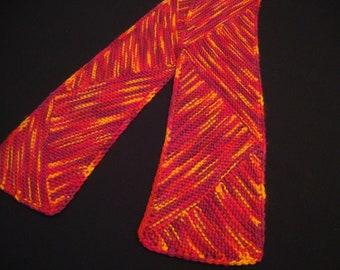 Knitting PATTERN Garter Wedge Scarf:  Easy, Fun Modular Knitting-- Instant Download