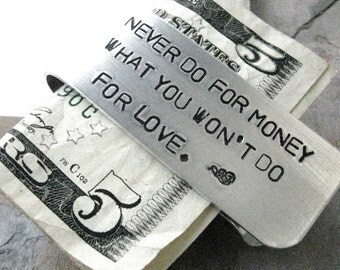 Personalized Money Clip, Money Quote, Men's Money Clip, aluminum, hand stamped, customize with your own quote or details, read listing