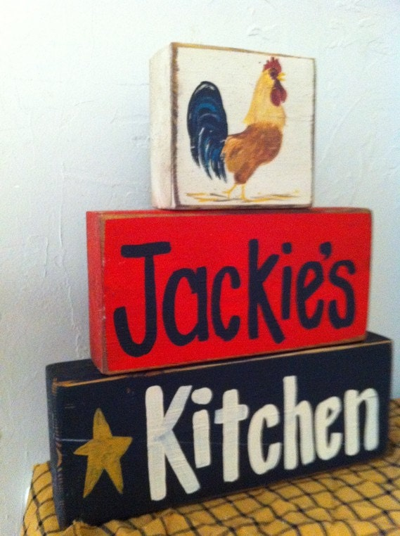 Personalized Kitchen Sign Stacking Wood Blocks By Trimblecrafts