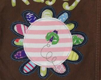 Personalized Canvas Field Bag in Color Java with Large Funky Flower and Ladybug, School Bag, Camp Bag, Sports Bag, Dance Bag,Kids Travel Bag