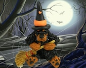 Whimsical Gordon Setter Dog Halloween Witch polymer clay OOAK sculpture by Sally's Bits of Clay - sallysbitsofclay