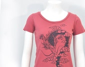 Japanese inspired kawaii,edgy Woman Organic Year of Dragon scoop neck tee S, M only