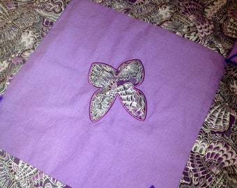 Handmade Lap Quilt Purple BUTTERFLY Baby Blanket EMBROIDERY & Applique - Ready to Ship
