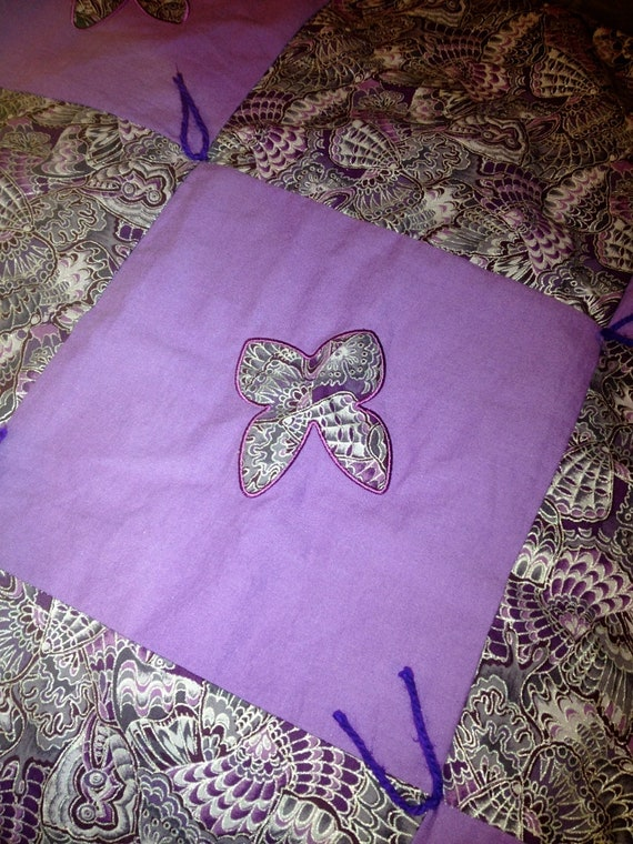 Handmade Lap Quilt Purple Butterfly Baby Blanket Embroidery
