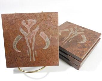 Quality Stone Coasters - Boba Fett Coasters Mandalorian - Natural Slate Stone Drink Coasters for Men - Mythosaur Skull Star Wars Coasters