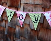 Amy Butler Joy Bunting Decoration,  Christmas Holiday Banner, Photo Prop, Party Decor. Very Chic. Custom Available.