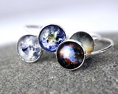 Galaxy Space Ring - Sterling Silver, 8mm, Custom Sized - Petite Solar System Planet and Nebula Stacking Rings - Space Jewelry