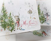 Woodland Magic First Snow Christmas Reindeer Card Set with Silver Metallic Envelopes Set of 6