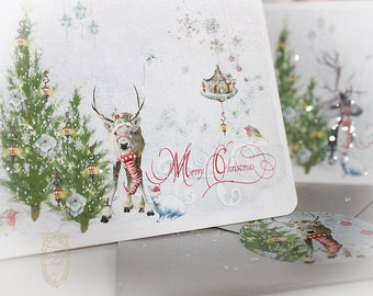 Woodland Magic First Snow Christmas Reindeer Card Set with Silver Metallic Envelopes and Matching Seals Set of  Six