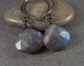 Labradorite Earrings, Faceted Labradorite Gemstone Briolettes Oxidized Sterling Silver Earrings Under 50