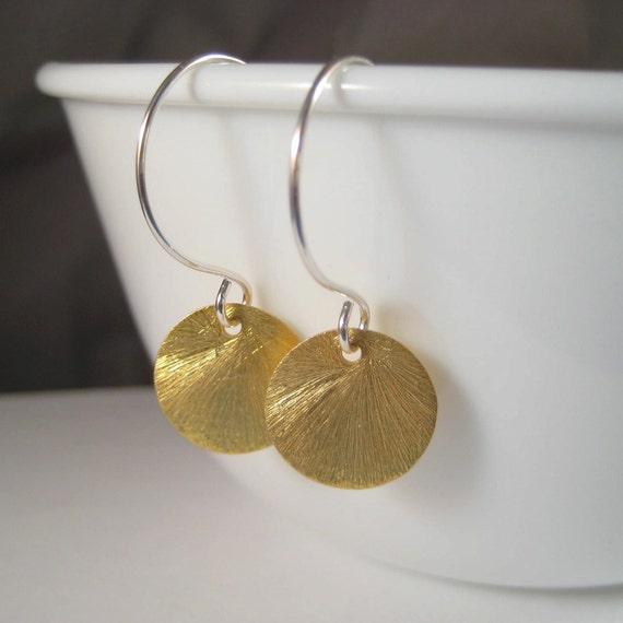 Vermeil Earrings, Brushed Gold Vermeil Disc Sterling Silver Earrings