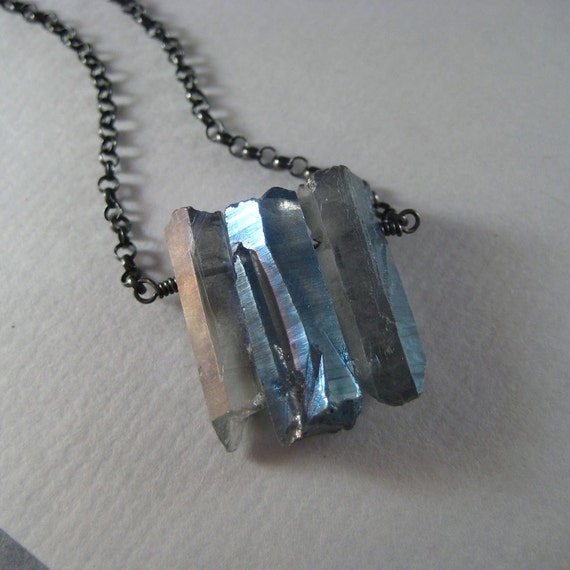 Mystic Quartz Necklace, Mystic Quartz Oxidized Sterling Silver Chain Necklace