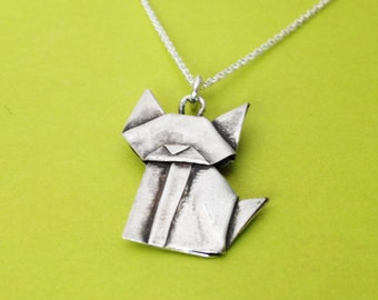 Hand Folded Silver Origami Cat Mini Pendant