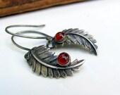 sterling silver leaf earrings, red carnelian earrings, nature inspired, silver earrings