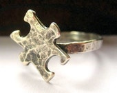 Puzzle piece sterling silver hammered oxidized ring Pre-order for 2013