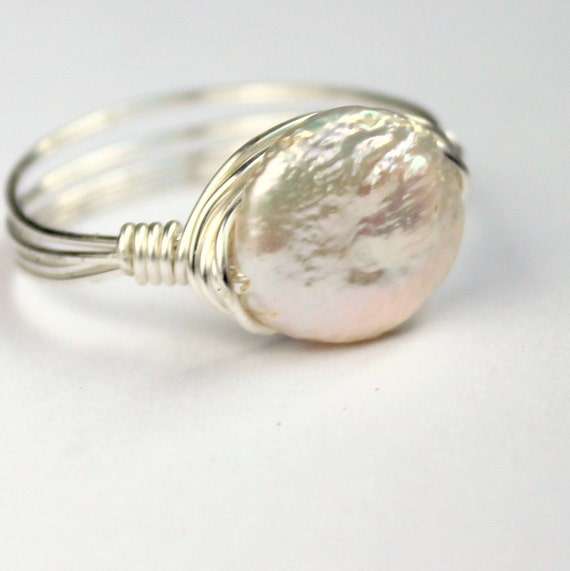 White freshwater pearl ring silver simple wire wrapped size 9 and a half