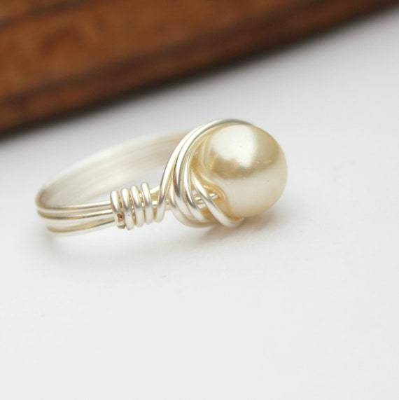 Cream crystal pearl silver wire wrapped ring size 5