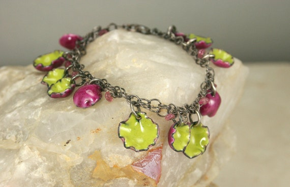 Fuschia and Chartreuse Copper Enamel Charm Bracelet Dangles with Movement