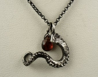 SALE - Holiday Special - Tentacle Garnet Pendant