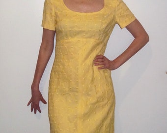 JANE ANDRE Embroidered Heavy Lovely fabric Yellow 60s Gown sz.S Great condition empire waist,short sleeve