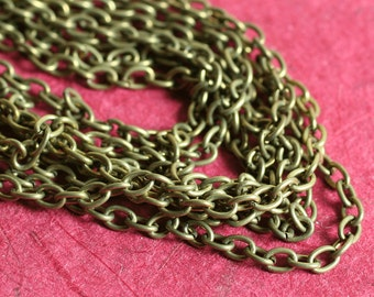 Antique brass cable chain 3x2mm, 5-FT package (item ID YWAB0.7SZ)