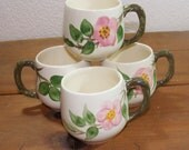 Franciscan Desert Rose Pattern Four Small Mugs made in England