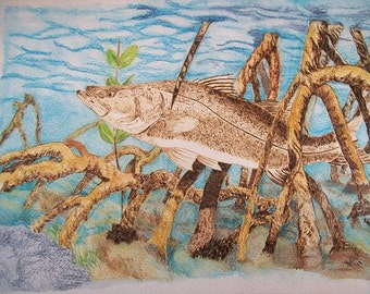 Snook Fish Pet Portrait Memorials Burned on Paper 9 x 12 inches Made to Order with Frame by Pigatopia