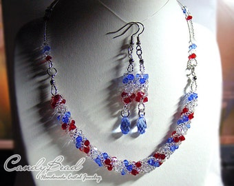 Swarovski Necklace, Red, White and Blue Twisty Swarovski Crystal Necklace by CandyBead