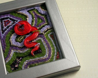 Uto // Beaded Painting // Bead Embroidered // Mixed Media // Beaded Painting // Green, Purple, and Red // Glass Snake