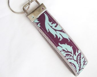 Wristlet Key Fob Key Chain in Aviary II Damask in Plum - Fabric Keychain