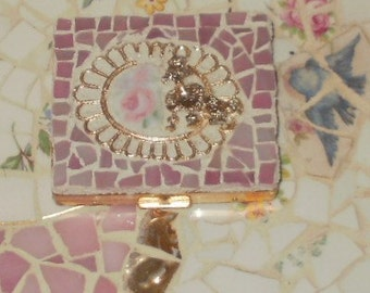 PINK  ROSE and stained glass broken china mosaic POODLE powder compact