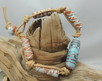 Leather Bracelet Ceramic Greek Beads in Ocean Blue  8 Inch