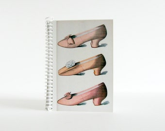 Pink Shoes Spiral Bound Writing Journal, Back to School, Blank Sketchbook, Pocket A6 Notebook, Romantic Jane Austen, Gifts Under 15, Ciaffi