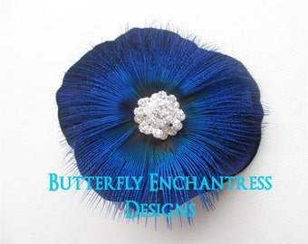 Midnight Blue Shimmer Feather Flower Bridal Hair Comb