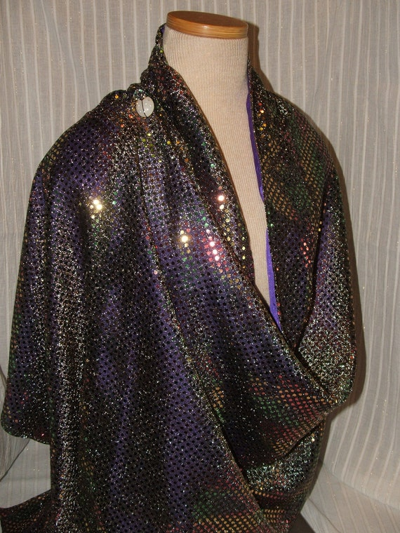 Christmas Lights Confetti Wrap Shawl Scarf with vintage pin