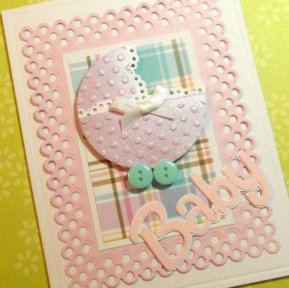 Baby Girl Card, New Arrival Card, Baby Shower Card, Welcome Baby Card, Baby Greeting Card, Girl Baby Card, Handmade Greeting Card
