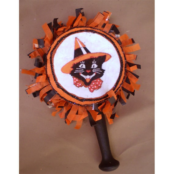 Halloween decoration vintage style retro Black Cat witches hat noisemaker rattle Trick or Treat