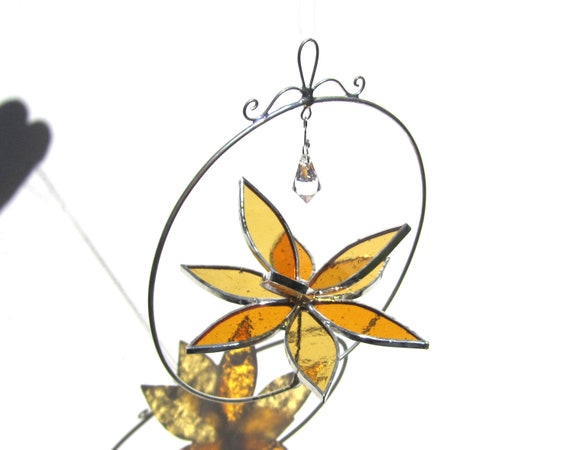 Peppy - Small Stained Glass Lotus Spinner - Orange Flower Home Garden Decor Nature Yard Art Suncatcher Wire Circle Crystal (Made to Order)