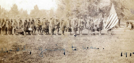 vintage photo Daddy Going to WAr Men w American Flag Suitcases 1917