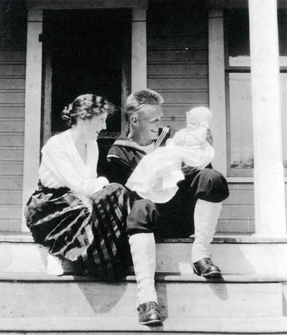 vintage photo Sailor Dad w Mom adoring Their Baby 1917
