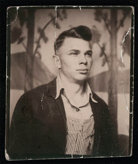 vintage photo Young Man Strong Features Farmer overalls poofy hair Photobooth photo booth