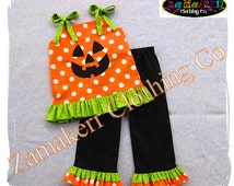 Custom Boutique Clothing Girl Halloween Pant Outfit Set Fall Pumpkin Face Jackolantern Pageant  3 6 9 12 18 24 month size 2T 3T 4T 5T 6 7 8
