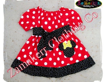Custom Boutique Minnie Mouse Dress - Girl Minnie Dress - Red Polkadot Minnie Mouse Dress Size 3 6 9 12 18 24 month 2T 2 3T 3 4T 4 5T 5 6 7 8
