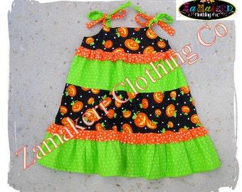Girl Pumpkin Dress - Halloween Pumpkin Tiered Ruffle Dress - Girl Halloween Dress 3 6 9 12 18 24 month size 2T 2 3T 3 4T 4 5T 5 6 7 8